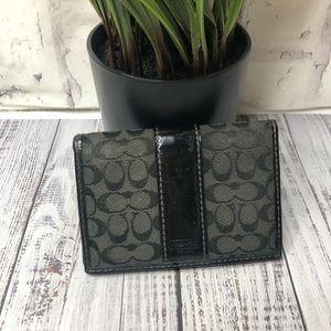 Coach black card holder mini wallet